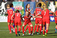 Portland, OR - Saturday October 07, 2017: Emily Sonnett, Hayley Raso celebrate a goal during a National Women's Soccer League (NWSL) semifinals match between the Portland Thorns FC and the Orlando Pride at Providence Park.