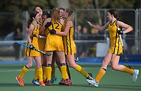 Wellington Girls' College celebnrate the first goal. 2020 Lower North Island Secondary Schools Hockey Girls Premiership tournament final between Wellington Girls' College and Wairarapa College at Fitzherbert Park Twin Turfs in Palmerston North, New Zealand on Friday, 4 September 2020. Photo: Dave Lintott / lintottphoto.co.nz