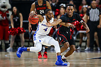 Washington, DC - March 10, 2020: Hofstra Pride guard Desure Buie (4) holds off Northeastern Huskies guard Tyson Walker (2) during the CAA championship game between Hofstra and Northeastern at  Entertainment and Sports Arena in Washington, DC.   (Photo by Elliott Brown/Media Images International)