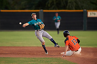 AZL Mariners second baseman Cody Grosse (6) throws to first base over Connor Cannon (13) during an Arizona League game against the AZL Giants Orange on July 18, 2019 at the Giants Baseball Complex in Scottsdale, Arizona. The AZL Giants Orange defeated the AZL Mariners 7-4. (Zachary Lucy/Four Seam Images)