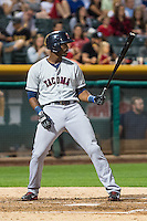 Jabari Blash (19) of the Tacoma Rainiers at bat against the Salt Lake Bees in Pacific Coast League action at Smith's Ballpark on August 31, 2015 in Salt Lake City, Utah. Salt Lake defeated Tacoma 6-5.  (Stephen Smith/Four Seam Images)