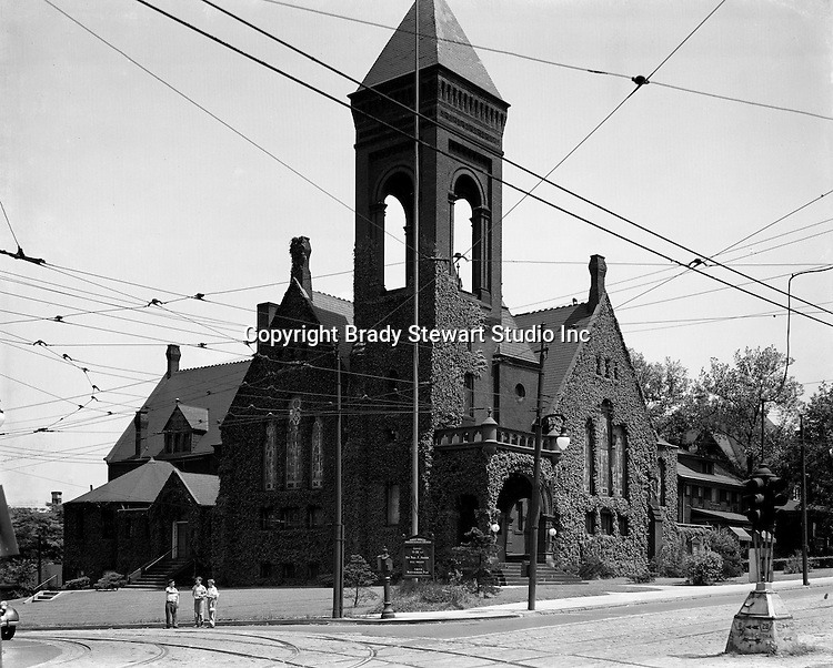 Homewood PA:  The exterior of the Point Breeze Presbyterian Church which was built in 1910.