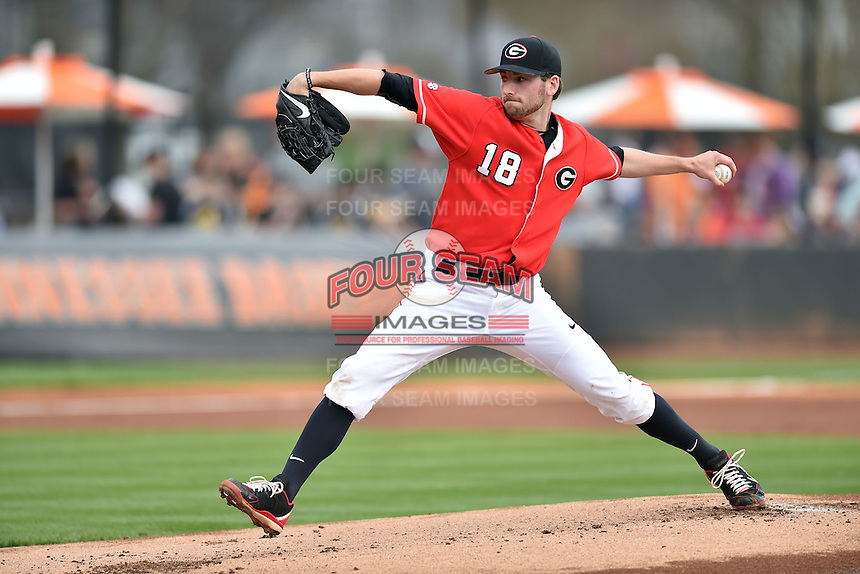 Georgia Bulldogs starting pitcher Ryan Lawlor (18) delivers a pitch during a game against the Tennessee Volunteers at Lindsey Nelson Stadium March 21, 2015 in Knoxville, Tennessee. The Bulldogs defeated the Volunteers 12-7. (Tony Farlow/Four Seam Images)