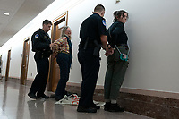 Protestors are detained during the U.S. Senate Committee on Energy and Natural Resources hearing with Katharine MacGregor, nominated to be Deputy Secretary of the Interior, and James P. Danly, nominated to be a Member of the Federal Energy Regulatory Commission, on Capitol Hill in Washington D.C., U.S., on Tuesday, November 5, 2019.<br />  <br /> Credit: Stefani Reynolds / CNP /MediaPunch