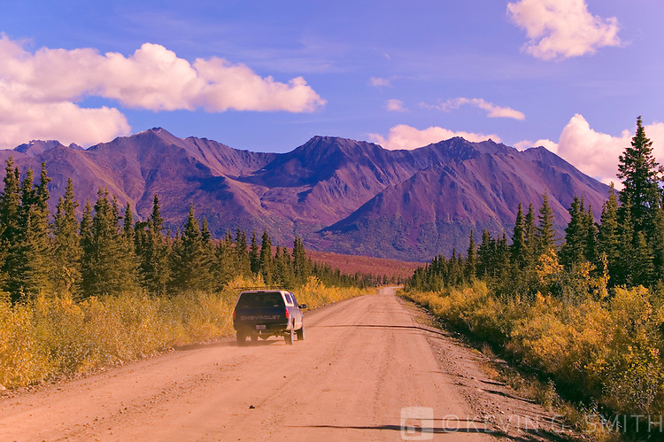Traffic on the Denali Highway headed east out of Cantwell, fall, Alaska, USA
