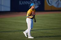 Rapidos de Kannapolis left fielder Chase Krogman (1) on defense against the Guerreros de Fayetteville at Atrium Health Ballpark on June 24, 2021 in Kannapolis, North Carolina. (Brian Westerholt/Four Seam Images)