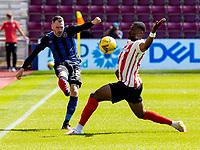 17th July 2021; Tynecastle Park, Edinburgh, Scotland;Pre Season Friendly Football, Heart of Midlothian versus Sunderland; Michael Smith of Hearts plays a long ball past Tyrese Dyche of Sunderland