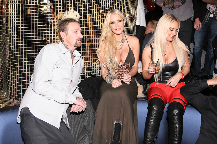 Luke Burrett, owner of Silver Star Casting company; Charis Burrett Playboy Playmate, and model Coco attend the Sachika Twins - To-Tam Ton-Nu, and To-Nya Ton-Nu - Birthday party, at Juliet Supper Club NYC, December 13 2010.