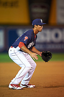 Reading Fightin Phils third baseman Harold Martinez (17) during a game against the New Britain Rock Cats on August 7, 2015 at FirstEnergy Stadium in Reading, Pennsylvania.  Reading defeated New Britain 4-3 in ten innings.  (Mike Janes/Four Seam Images)