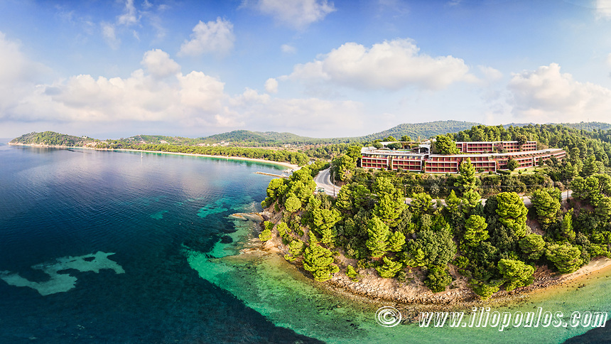 The beach Koukounaries of Skiathos island from drone view, Greece