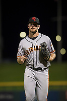 Scottsdale Scorpions right fielder Heath Quinn (45), of the San Francisco Giants organization, jogs off the field between innings of an Arizona Fall League game against the Mesa Solar Sox at Sloan Park on October 10, 2018 in Mesa, Arizona. Scottsdale defeated Mesa 10-3. (Zachary Lucy/Four Seam Images)