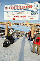 Mats Pettersson heads out of the chute at the finish line in Nome on Thursday March 19, 2015 during Iditarod 2015.  <br /> <br /> (C) Jeff Schultz/SchultzPhoto.com - ALL RIGHTS RESERVED<br />  DUPLICATION  PROHIBITED  WITHOUT  PERMISSION