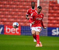 3rd October 2020; City Ground, Nottinghamshire, Midlands, England; English Football League Championship Football, Nottingham Forest versus Bristol City; Nicholas Ioannou of Nottingham Forest hits an early long ball