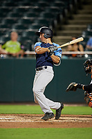 Trenton Thunder third baseman Mandy Alvarez (3) hits a single during the second game of a doubleheader against the Bowie Baysox on June 13, 2018 at Prince George's Stadium in Bowie, Maryland.  Bowie defeated Trenton 10-1.  (Mike Janes/Four Seam Images)
