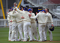 Otago players celebrate victory during day four of the Plunket Shield match between the Wellington Firebirds and Otago Volts at Basin Reserve in Wellington, New Zealand on Sunday, 8 November 2020. Photo: Dave Lintott / lintottphoto.co.nz