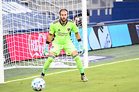 KANSAS CITY, UNITED STATES - AUGUST 25: Marko Maric #1 of Houston Dynamo keeps his eyes on the ball  a game between Houston Dynamo and Sporting Kansas City at Children's Mercy Park on August 25, 2020 in Kansas City, Kansas.