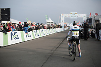 Sanne Cant (BEL/Iko Beobank) after winning the Belgian National CX Championships 2018 & waiting behind the finish line to see who'd come in 2nd<br /> <br /> Women's Race<br /> Belgian National Cyclocross Championships 2018 / Koksijde
