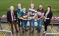 Monday 24th February 2020 | Deep River Rock Ulster Towns Cup Semi-Final Draw<br /> <br /> Pictured at the Deep River Rock Ulster Towns Cup Semi-Final draw are Ulster Branch Senior Vice President Philip Gregg, Banbridge RFC 2s captain Aaron Kennedy, Ballynahinch RFC 2s captain Eamon McAnulty and Hillary Hughes representing the sponsors Deep River Rock at Kingspan Stadium today. Photo by John Dickson / DICKSONDIGITAL