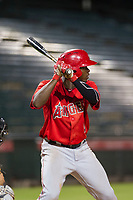 AZL Angels center fielder Johan Sala (5) at bat against the AZL White Sox on August 14, 2017 at Diablo Stadium in Tempe, Arizona. AZL Angels defeated the AZL White Sox 3-2. (Zachary Lucy/Four Seam Images)