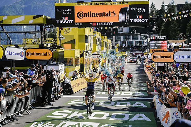 Primoz Roglic (SLO) Team Jumbo-Visma wins Stage 4 of Tour de France 2020, running 160.5km from Sisteron to Orcieres-Merlette, France. 1st September 2020.<br /> Picture: ASO/Pauline Ballet | Cyclefile<br /> All photos usage must carry mandatory copyright credit (© Cyclefile | ASO/Pauline Ballet)