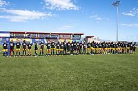 HERRIMAN, UT - JULY 4: Utah Royals FC lining up for national anthem during a game between Sky Blue FC and Utah Royals FC at Zions Bank Stadium on July 4, 2020 in Herriman, Utah.