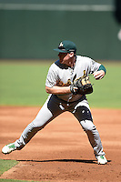Oakland Athletics first baseman John Nogowski (14) during practice before an Instructional League game against the Arizona Diamondbacks on October 10, 2014 at Chase Field in Phoenix, Arizona.  (Mike Janes/Four Seam Images)