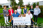 Donal Prendergast from Killorglin, who did a head and beard shave and a back and chest waxing fundraiser for the Kerry Hospice and presentied a cheque for €2,725 at the unit on Tuesday. Front Donal Prendergast and Joe Hennebry. Back l to r: Mary Shanahan, Mary, Becky, Shanda, Lisa and Gary Prendergast.