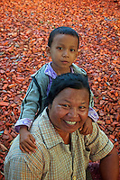 Portrait of mother and child near Battambang rural Cambodia