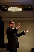 Conference de David Heurtel, ministre de l'Immigration, de la Diversite et de l'Inclusion devant la Chambre de commerce du Montreal Metropolitain, le Vendredi 13 avril 2018 de 11 h 30 à 13 h 30, au Centre Sheraton.<br /> <br /> <br /> PHOTO : <br />  - Agence Quebec Presse