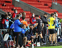 20th November 2020; Totally Wicked Stadium, Saint Helens, Merseyside, England; BetFred Super League Playoff Rugby, Saint Helens Saints v Catalan Dragons; Benjamin Garcia of Catalan Dragons is sent to the sin bin in the 66th minute after his high arm on Johnny Lomax of St Helens
