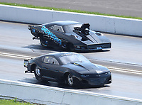 Aug 8, 2020; Clermont, Indiana, USA; NHRA pro mod driver Kris Thorne (near) alongside Chip King during qualifying for the Indy Nationals at Lucas Oil Raceway. Mandatory Credit: Mark J. Rebilas-USA TODAY Sports
