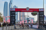 Caleb Ewan (AUS) Lotto-Soudal outsprints Sam Bennett (IRL) Deceuninck-Quick Step to win Stage 7 of the 2021 UAE Tour running 165km from Yas Island to Abu Dhabi Breakwater, Abu Dhabi, UAE. 27th February 2021.<br /> Picture: LaPresse/Gian Mattia D'Alberto   Cyclefile<br /> <br /> All photos usage must carry mandatory copyright credit (© Cyclefile   LaPresse/Gian Mattia D'Alberto)