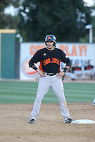 Ryder Jones (9) of the San Jose Giants stands at second base during a game against the Rancho Cucamonga Quakes at LoanMart Field on August 30, 2015 in Rancho Cucamonga, California. Rancho Cucamonga defeated San Jose, 8-3. (Larry Goren/Four Seam Images)