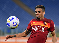 Football, Serie A: AS Roma - Bologna, Olympic stadium, Rome, April 11, 2021. <br />  (l) in action with  (r) during the Italian Serie A football match between AS Roma and Bologna at Rome's Olympic stadium, Rome, on April 11, 2021.  <br /> UPDATE IMAGES PRESS/Isabella Bonotto