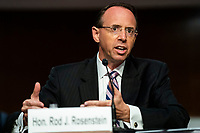 Former United States Deputy Attorney General Rod Rosenstein testifies before a Republican-led Senate Judiciary Committee hearing on ëCrossfire Hurricane,í the FBI's probe into Russian election interference and the 2016 Trump campaign in the Dirksen Senate Office Building in Washington, DC, USA, 03 June 2020.<br /> Credit: Jim LoScalzo / Pool via CNP/AdMedia