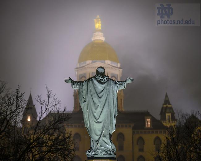 January 24, 2020: Main Building in fog (Photo by Matt Cashore/University of Notre Dame)