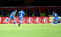 PEREIRA - COLOMBIA, 26–07-2021: Jugadores de Alianza Petrolera, celebran el gol anotado a Deportivo Pereira, durante partido de la fecha 2 entre Deportivo Pereira y Alianza Petrolera por la Liga BetPlay DIMAYOR II 2021, jugado en el estadio Hernan Ramirez Villegas de la ciudad de Pereira. / Players of Alianza Petrolera, celebrate the scored goal to Deportivo Pereira, during match of 2nd date between Deportivo Pereira and Alianza Petrolera for the BetPlay DIMAYOR II 2021 League played at the Hernan Ramirez Villegas in Pereira city. / Photo: VizzorImage / Pablo Bohorquez/ Cont.