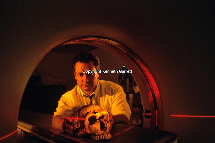 Paleontologist Jacques Hublin, CT Scan of a Neandertal skull, Musee de L'Homme, Paris, France