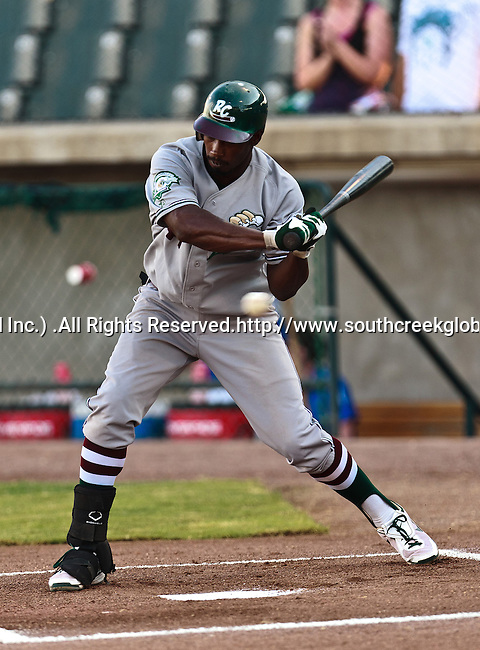 Gary Southshore Railcats Outfielder Lorenzo Scott (47) in action during the American Association of Independant Professional Baseball game between the Gary Southshore Railcats and the Fort Worth Cats at the historic LaGrave Baseball Field in Fort Worth, Tx. Gary Southshore defeats Fort Worth 7 to 3.