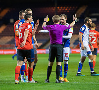 Blackburn Rovers' Barry Douglas argues with referee Gavin Ward after giving a yellow card Blackburn Rovers' Ben Brereton for simulation.<br /> <br /> Photographer David Horton/CameraSport<br /> <br /> The EFL Sky Bet Championship - Luton Town v Blackburn Rovers - Saturday 21st November 2020 - Kenilworth Road - Luton<br /> <br /> World Copyright © 2020 CameraSport. All rights reserved. 43 Linden Ave. Countesthorpe. Leicester. England. LE8 5PG - Tel: +44 (0) 116 277 4147 - admin@camerasport.com - www.camerasport.com