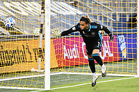 KANSAS CITY, KS - SEPTEMBER 23: Pedro Gallese #1 of Orlando City watches the ball go wide of the post during a game between Orlando City SC and Sporting Kansas City at Children's Mercy Park on September 23, 2020 in Kansas City, Kansas.