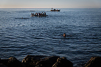 CEUTA, SPAIN ‐ MAY 19: A boat with a group of young people try to swim across the border from Morocco to Spain, bordering the Tarajal beach on May 19, 2021 in Ceuta, Spain.  After a diplomatic conflict between Spain and Morocco, thousands of migrants who have taken advantage of the little Moroccan police activity on the border to cross it mainly by swimming, which has caused a migration crisis with the entry of more than 8000 migrants from the African country. (Photo by Joan Amengual/VIEWpress )
