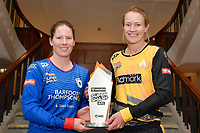 Lauren Down, captain of the Auckland Hearts and Maddy Green, captain of the Wellington Blaze (L-R) Super Smash Captains photo opportunity at Basin Reserve, Wellington on Wednesday 23 December 2020.<br />