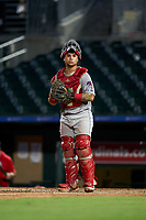 Clearwater Threshers catcher Rafael Marchan (24) during a Florida State League game against the Palm Beach Cardinals on August 10, 2019 at Roger Dean Chevrolet Stadium in Jupiter, Florida.  Clearwater defeated Palm Beach 11-4.  (Mike Janes/Four Seam Images)