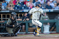Michigan Wolverines outfielder Jesse Franklin (7) follows through on his swing against the Vanderbilt Commodores during Game 1 of the NCAA College World Series Finals on June 24, 2019 at TD Ameritrade Park in Omaha, Nebraska. Michigan defeated Vanderbilt 7-4. (Andrew Woolley/Four Seam Images)
