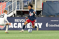 FOXBOROUGH, MA - OCTOBER 09: Isaac Angking #5 of New England Revolution II approaches Ethan Hardin #25 of Fort Lauderdale CF during a game between Fort Lauderdale CF and New England Revolution II at Gillette Stadium on October 09, 2020 in Foxborough, Massachusetts.