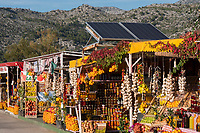 CROATIA, Neretva also known as the Narenta river valley, fruit and vegetable stall with solar panel, direct selling along the road