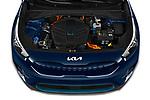 Car Stock 2022 KIA Niro-EV EX 5 Door Hatchback Engine  high angle detail view
