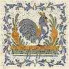 """16"""" x 16"""" Stylized Chicken mosaic in Blue Macauba, Ivory Cream, Verde Luna, Persian Gold, Emperador Dark"""