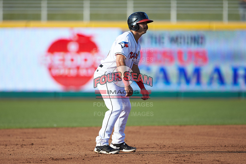 Brock Lundquist (33) of the Lansing Lugnuts takes his lead off of second base against the South Bend Cubs at Cooley Law School Stadium on June 15, 2018 in Lansing, Michigan. The Lugnuts defeated the Cubs 6-4.  (Brian Westerholt/Four Seam Images)
